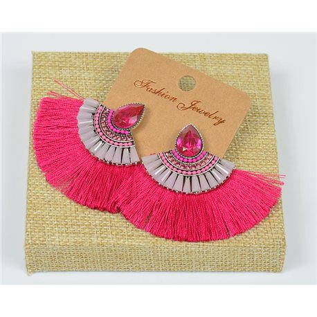 Handmade 1p Earrings Nail Stud Set with Beads and Strass New Pompom Collection 77646