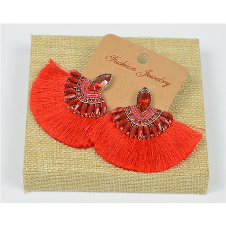 Handmade - 1p Earrings with Nails set with Beads and Strass New Collection Pompom 77650