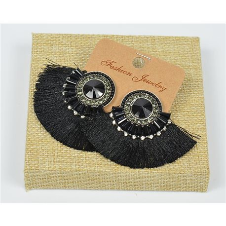 Handmade - 1p Earrings with Nails set with Beads and Strass New Collection Pompon 77653