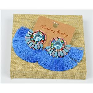 Handmade - 1p Earrings with Nails set with Beads and Strass New Collection Pompon 77656