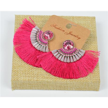 Handmade 1p Earrings Nail Stud Set with Beads and Strass New Pompom Collection 77662