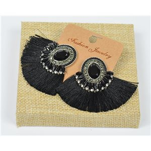 Handmade 1p Earrings Nail Stud Set with Beads and Strass New Collection Pompom 77665