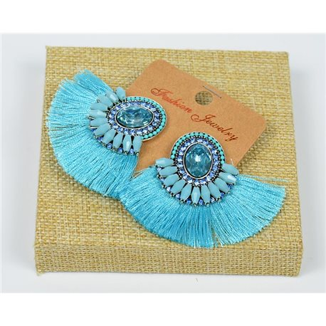 Handmade - 1p Earrings with Nails set with Beads and Strass New Pompom Collection 77667