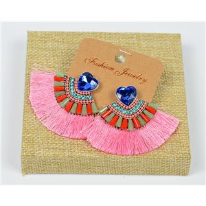 Handmade - 1p Earrings with Nails set with Beads and Strass New Collection Pompon 77671