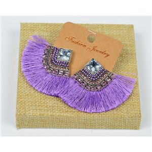 Handmade - 1p Earrings with Nails set with Beads and Strass New Collection Pompon 77676