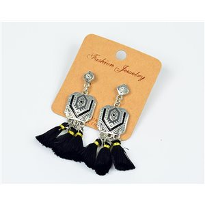 1p Boucles Oreilles à Clou Pompon et Strass New Collection Ethnique 77609