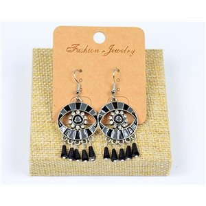 1p Boucles Oreilles à Crochet Perles et Strass New Collection Ethnique 77597
