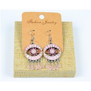 1p Boucles Oreilles à Crochet Perles et Strass New Collection Ethnique 77599