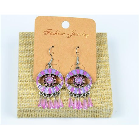 1p earrings Crochet Beads and Rhinestone New Ethnic Collection 77600