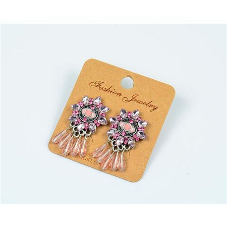 1p Earrings Nail Pearl and Rhinestone New Ethnic Collection 77603