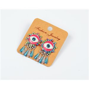 1p Earrings Nail Beads and Rhinestones Ethnic New Collection 77583