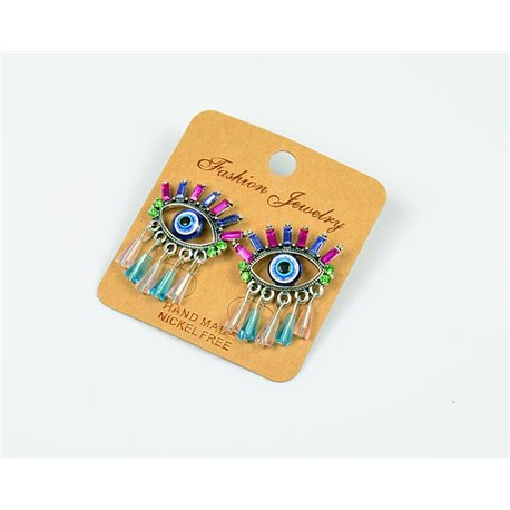1p Earrings Nail Beads and Rhinestones Ethnic New Collection 77586