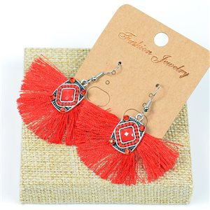 1p Earrings Crochet Tassel and Beads New Ethnic Collection 77614