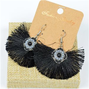 1p Boucles Oreilles à Crochet Pompon et Perles New Collection Ethnique 77621