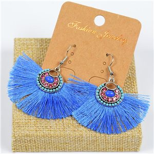 1p Earrings Crochet Tassel and Beads New Ethnic Collection 77627