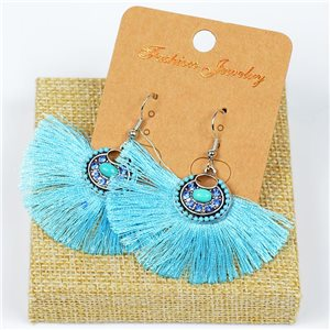 1p Earrings Crochet Tassel and Beads New Ethnic Collection 77628