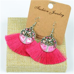 1p Earrings Crochet Tassel and Beads New Ethnic Collection 77634