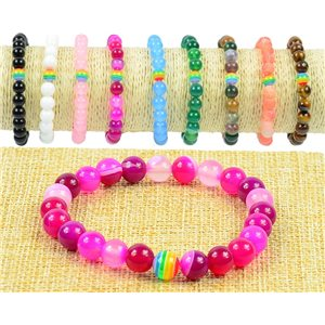 8mm Agate Fuchsia Beads Bracelet on Elastic Wire Rainbow Collection 77505