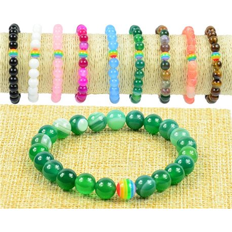 8mm Agate Agate Beads Bracelet on Elastic Wire Rainbow Collection 77507