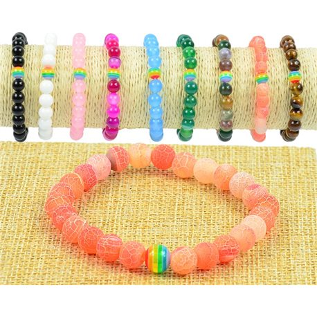 Pearl Bracelet 8mm Rose Quartz Stone Marbled on Elastic Wire Rainbow Collection 77509