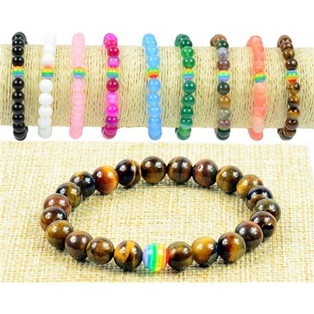 8mm Tiger Eye Beads Bracelet with Elastic Wire Rainbow Collection 77510