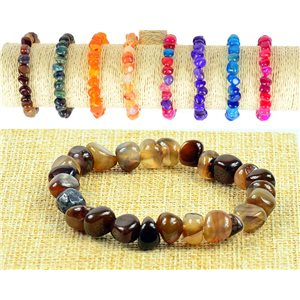New Agate Brown Asymmetrical Gemstone Bracelet on Elastic Wire 77518
