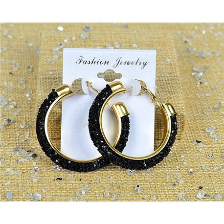 1p Earrings with Glitter Hoops 45mm clasp closure New Collection 77677