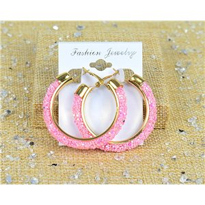 1p Earrings with Glitter Hoops 45mm clamshell closure New Collection 77681
