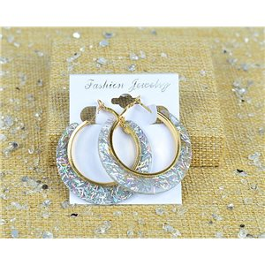 1p Earring Spangled Hoop Earring 45mm Clasp New Collection 77686