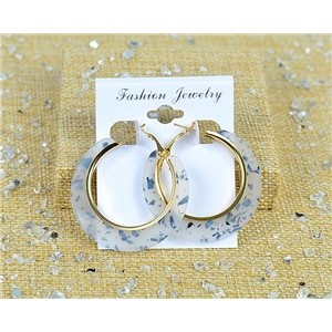 1p Earring Spangled Hoop Earring 45mm Clasp New Collection 77691