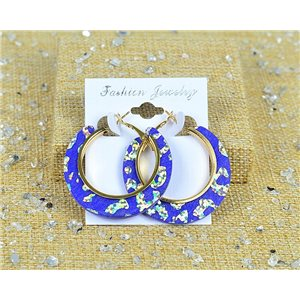 1p Boucles Oreilles Paillettés Créoles 45mm fermeture à clapet New Collection 77706
