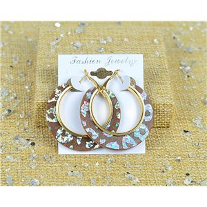 1p Boucles Oreilles Paillettés Créoles 45mm fermeture à clapet New Collection 77708