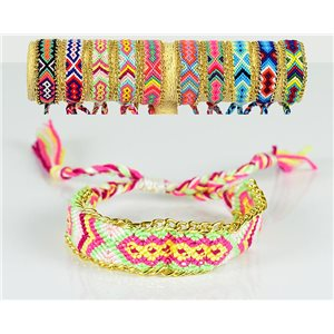 Braided Cotton Cuff Bracelet on Sliding Knot New Ethnic Collection 77736