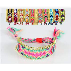 Braided cotton cuff bracelet on sliding knot New Ethnic Collection 77740
