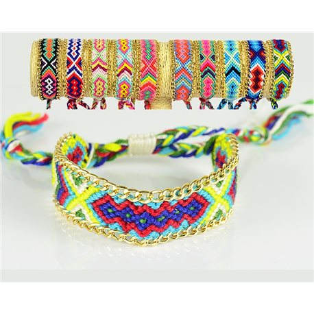 Braided cotton cuff bracelet on sliding knot New Ethnic Collection 77743