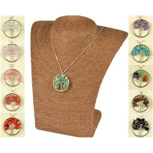 Pendant Necklace Happiness Tree of Life 30mm on Green Aventurine Stone 77750