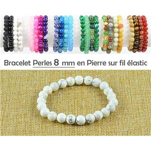 8mm White Howlite Stone Bead Bracelet with Elastic Thread 77756