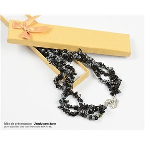 Triple Row Stone Obsidian Stone Necklace L48-56cm New Collection 77761