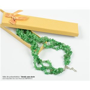 Collier Triple Rang en Pierre Aventurine Verte L48-56cm New Collection 77767