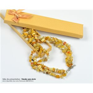 Citrine Triple Rank Stone Necklace L48-56cm New Collection 77769