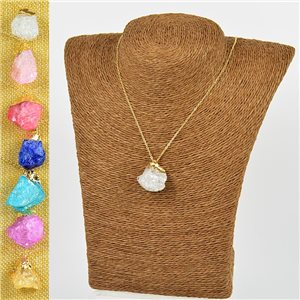 Mineral Quartz Pendant Necklace on gold metal chain L40-46cm New Collection 77774