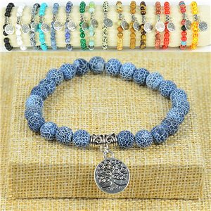 Bracelet Life Beads Tree of Life Beads 8mm stone Agate marbled on elastic thread 77880