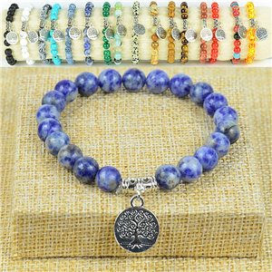 Tree of Life Life Beads Bracelet 8mm in Agate Lilac Stone on elastic thread 77881
