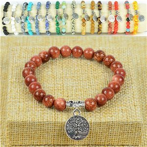 Bracelet Life Beads Tree of Life Pearls 8mm in Sun Stone on elastic thread 77889
