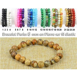 Pearl Bracelet 8mm Stone Jasper Landscape on Elastic Thread 77920