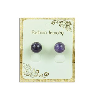 1p Boucles Oreilles à clou Perle 10mm en Pierre Agate Purple - New Collection 77933