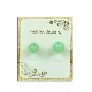1p Earrings with Nail Pearl 10mm in Green Aventurine Stone - New Collection 77935