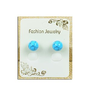 1p Earrings with 10mm Pearl in Howlite Blue Stone - New Collection 77930