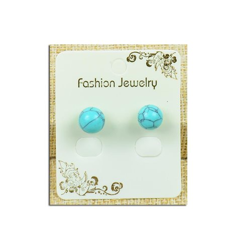 1p Earrings with 10mm Pearl in Howlite Turquoise Stone - New Collection 77931