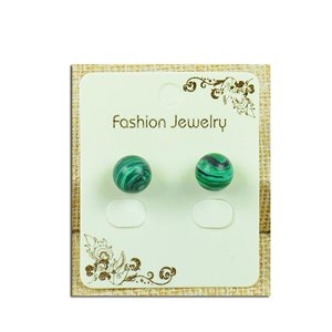 1p Boucles Oreilles à clou Perle 10mm en Pierre Malachite - New Collection 77934